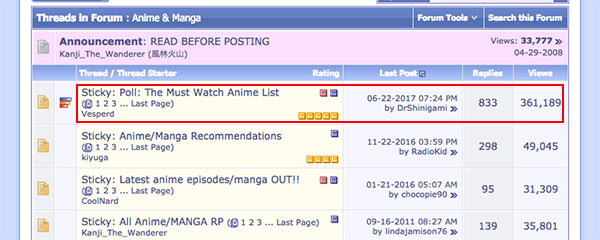 The Must Watch Anime List