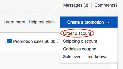 Order discountをクリック